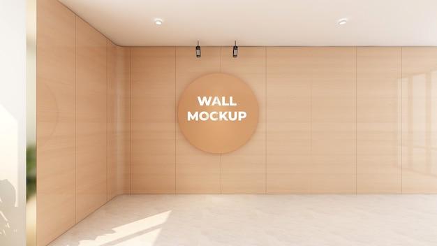 Maquette De Logo En Bois De Cercle Dans La Conception De Mur De Bureau PSD Premium