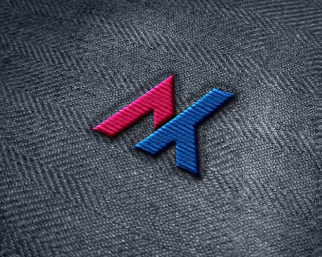 Maquette De Logo De Broderie Réaliste Sur Tissu De Jeans PSD Premium