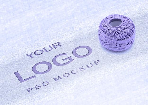 Maquette de logo avec le concept de coton PSD Premium