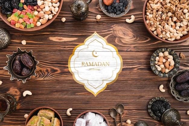 Maquette de logo avec concept de ramadan Psd gratuit