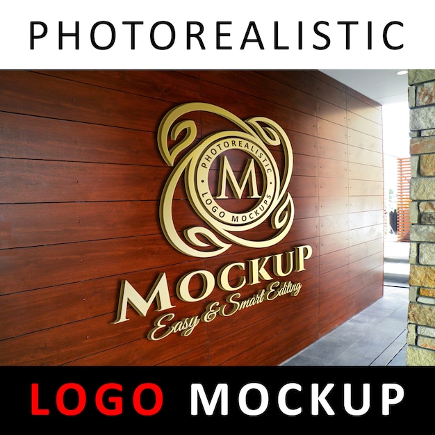 Maquette de logo - logo 3d en or sur un mur en bois PSD Premium