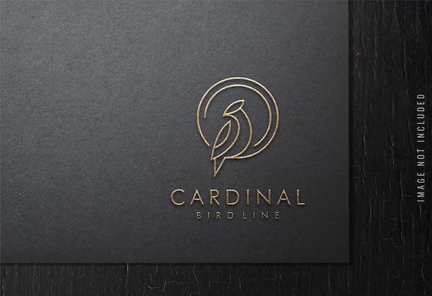 Maquette De Logo De Luxe Sur Papier Noir PSD Premium