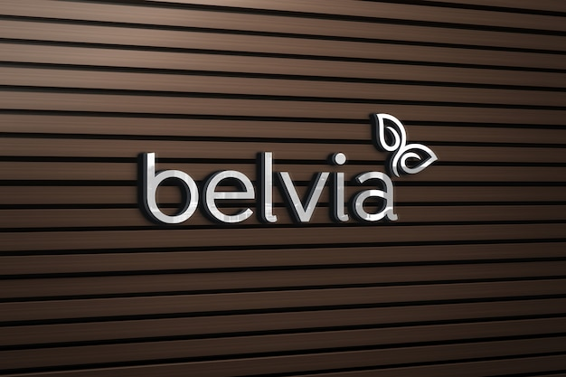 Maquette De Logo Avec Un Mur En Bois PSD Premium