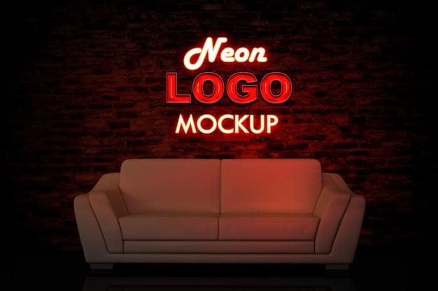 Maquette logo néon avec canapé PSD Premium