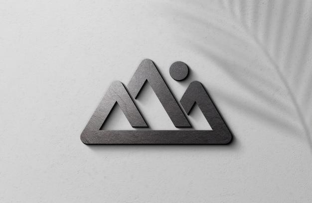 Maquette De Logo En Relief 3d Sur Un Mur De Surface Blanche PSD Premium