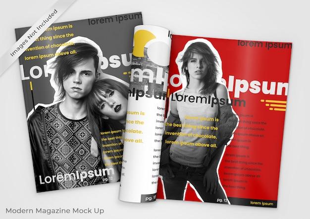 Maquette de magazine moderne de deux magazines, l'un ouvert et l'autre fermé psd PSD Premium