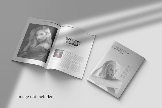 Maquette De Magazine Perspective Avec Superposition D'ombres PSD Premium