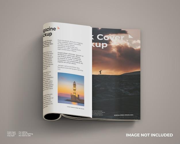 Maquette De Magazine Pliée Côté Droit à L'intérieur Et Couverture Avant PSD Premium