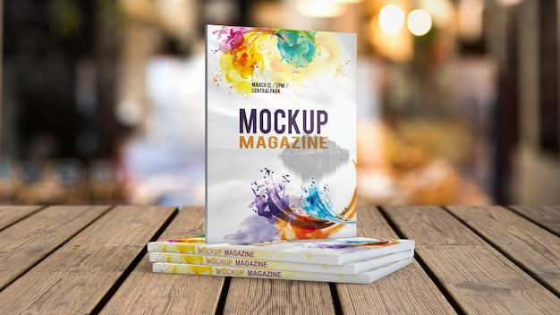 Maquette de magazine sur la table en bois Psd gratuit