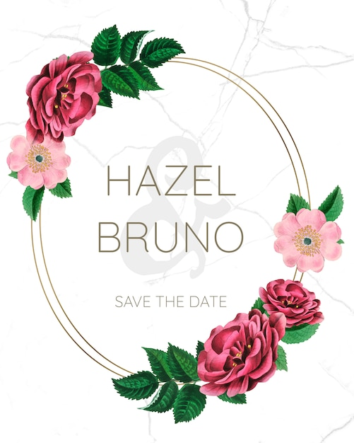 Maquette de mariage avec des roses PSD Premium