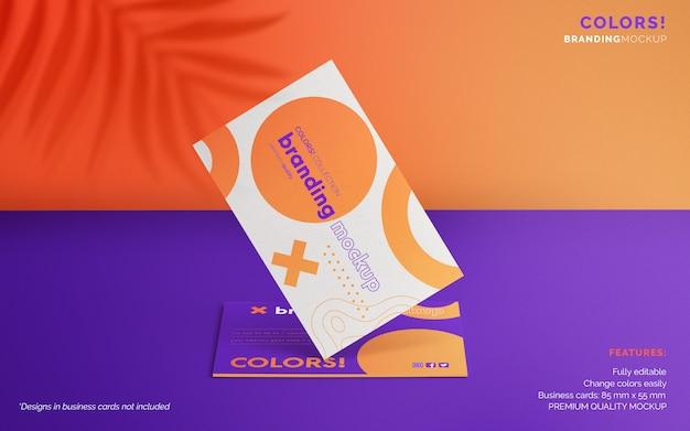 Maquette De Marque Colorée Avec Des Cartes De Visite Psd gratuit