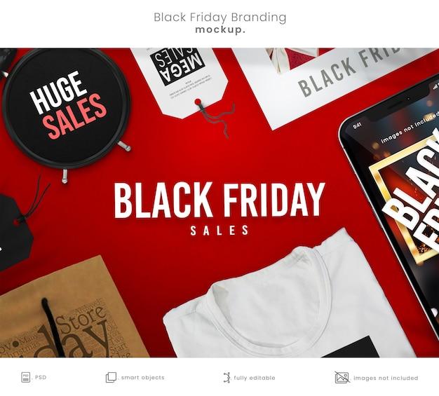 Maquette De Marque Complète Du Black Friday Avec Maquette De Téléphone Intelligent PSD Premium