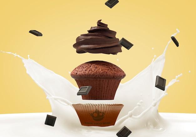 Maquette de marque cupcake Psd gratuit
