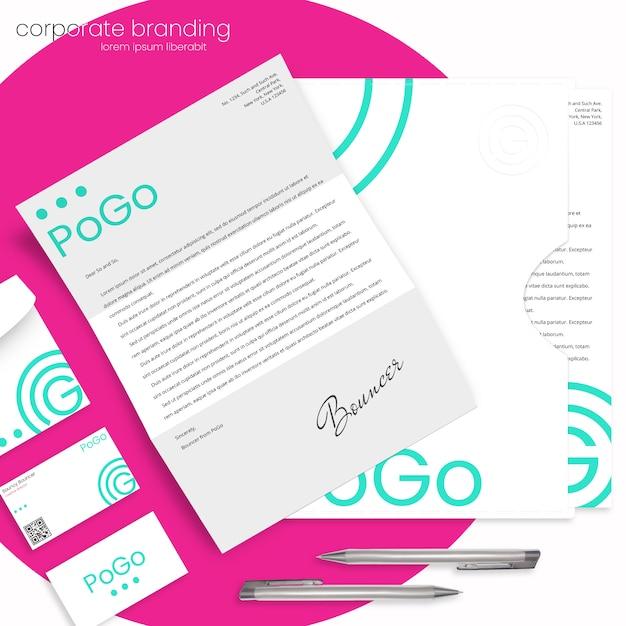 Maquette de marque d'entreprise avec lettre, enveloppe, dossier et cartes de visite PSD Premium