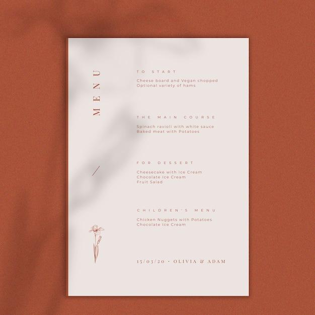 Maquette de menu de concept de mariage Psd gratuit