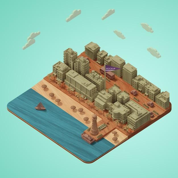 Maquette Miniature De La Journée Mondiale Des Villes Psd gratuit