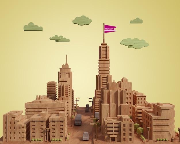 Maquette Modèle De Bâtiment 3d Ville Psd gratuit