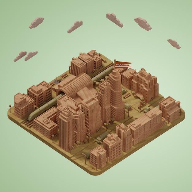 Maquette De Modèle De Miniatures De Villes 3d Psd gratuit