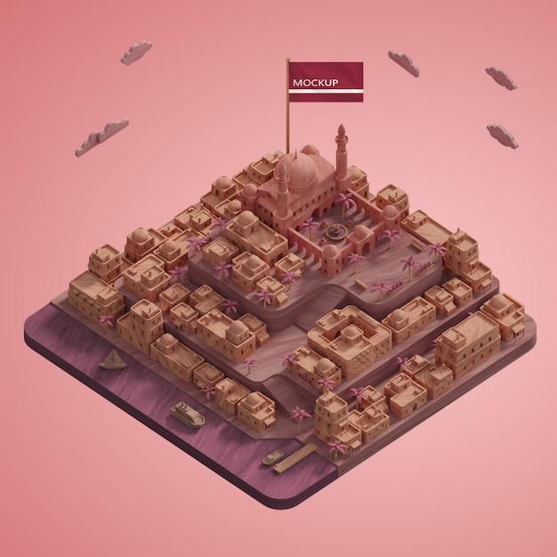 Maquette De Modèle De Repère De Villes 3d Psd gratuit