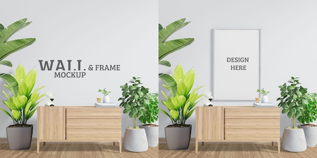 Maquette De Mur Et De Cadre. Espace Avec Armoires Décoratives Et Arbres PSD Premium