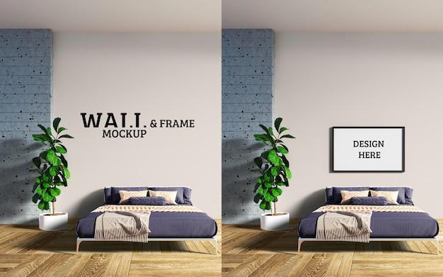 Maquette De Mur Et De Cadre Le Lit à Motifs Est Des Lignes Modernes PSD Premium