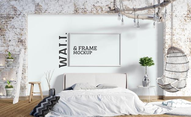 Maquette De Mur Et De Cadre - Style Chambre à Coucher Industrielle PSD Premium