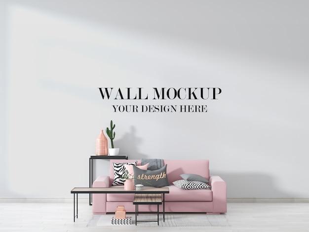 Maquette De Mur De Chambre D'adolescent Avec Canapé Rose Et Meubles à L'intérieur PSD Premium