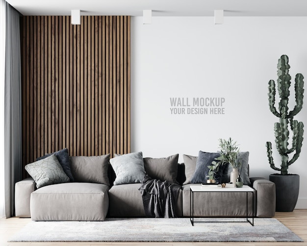 Maquette De Mur De Salon Intérieur Psd gratuit