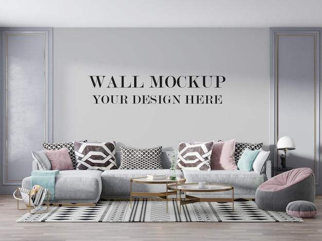 Maquette De Mur De Salon De Luxe Avec Meubles PSD Premium