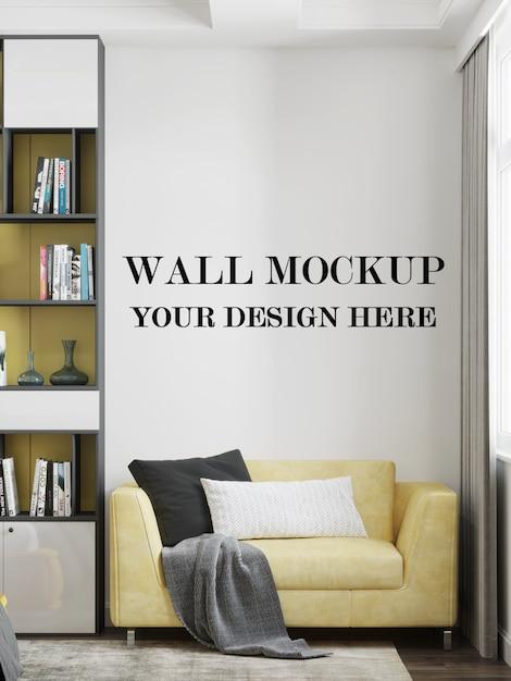 Maquette Murale Dans Une Pièce Moderne Avec Un Design Minimaliste PSD Premium
