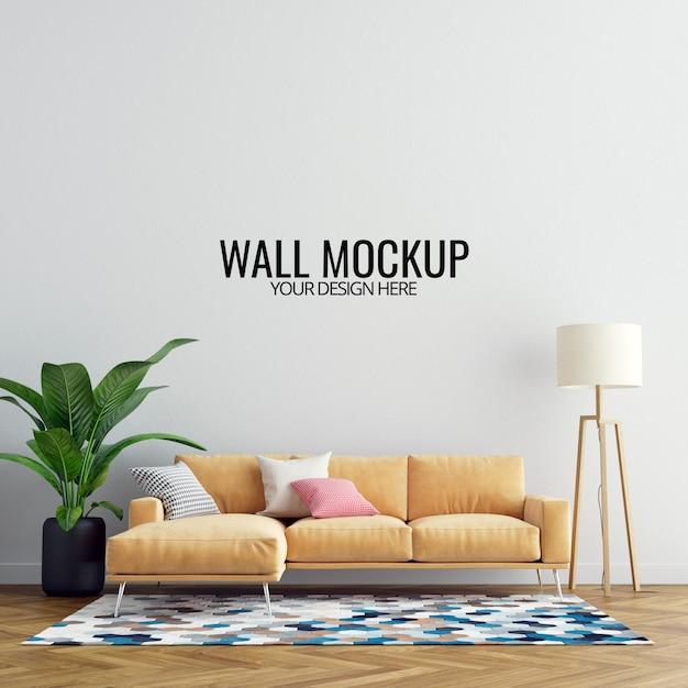 Maquette murale de salon intérieur avec mobilier et décoration PSD Premium