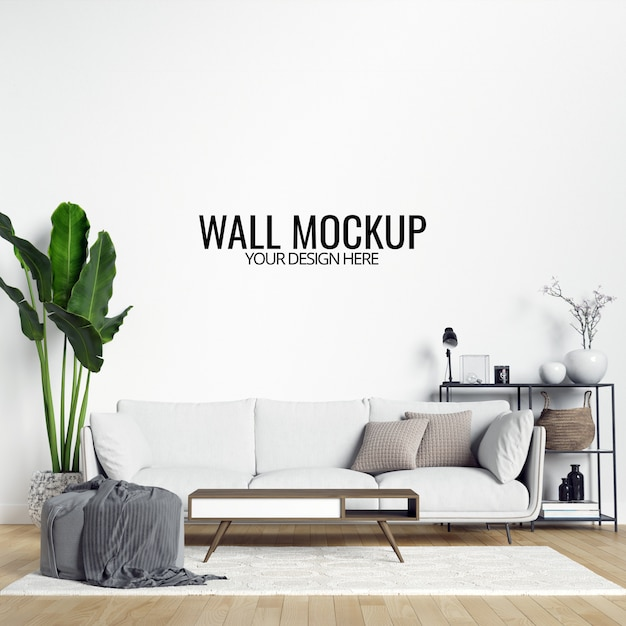 Maquette Murale De Salon Intérieur Moderne Avec Meubles Et Décor PSD Premium