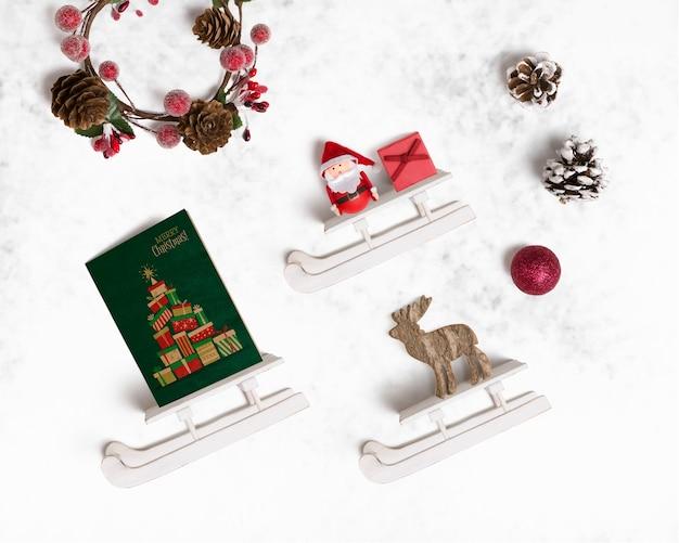 Maquette De Noël Décorative Avec Des Traîneaux Psd gratuit