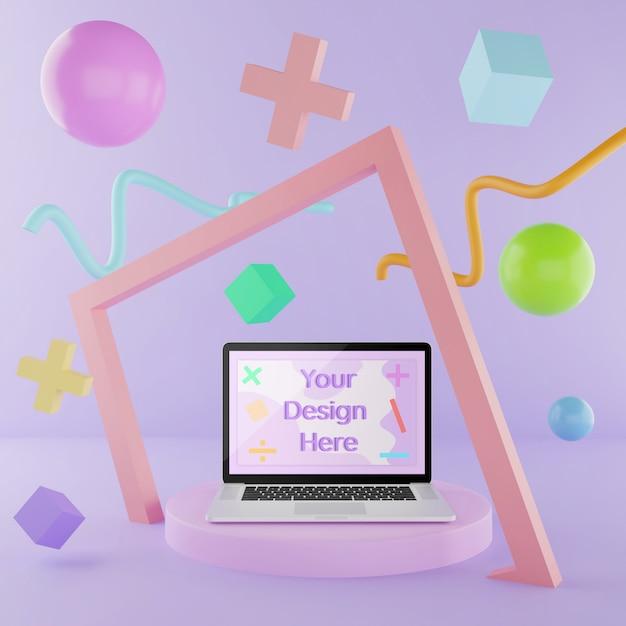 Maquette de l'ordinateur portable sur le podium avec des éléments abstraits couleur 3d illustration pastel PSD Premium