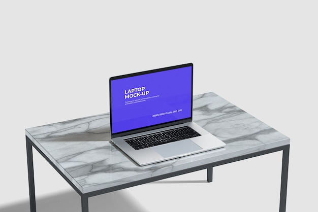 Maquette D'ordinateur Portable Sur La Table En Céramique Psd gratuit