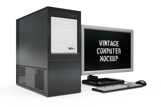 Maquette d'ordinateur vintage isolée Psd gratuit