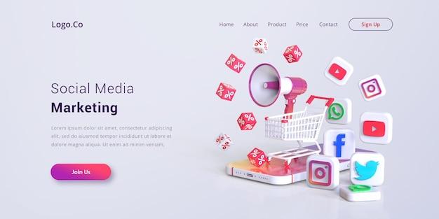 Maquette De Page De Destination Marketing Sur Les Réseaux Sociaux PSD Premium