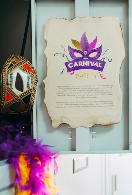 Maquette De Page En Papier Avec Concept De Carnaval Psd gratuit