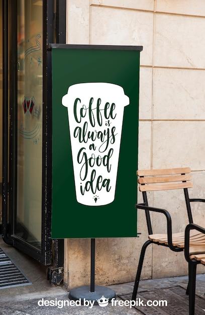 Maquette de panneau d'affichage avec le concept de café Psd gratuit