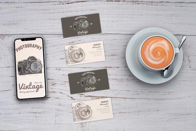 Maquette de papeterie avec concept de photographie et cartes de visite Psd gratuit