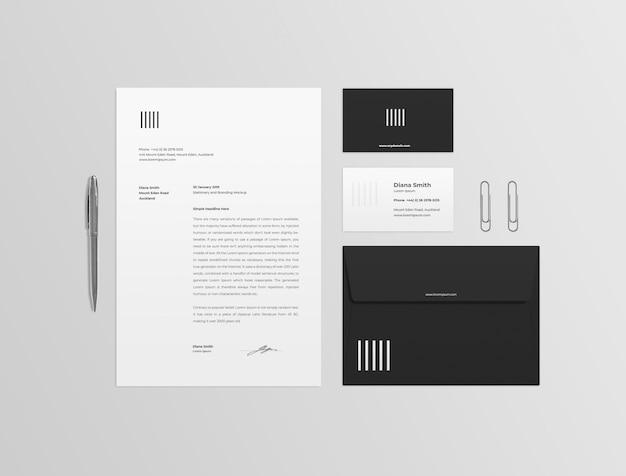 Maquette de papeterie noir et blanc PSD Premium