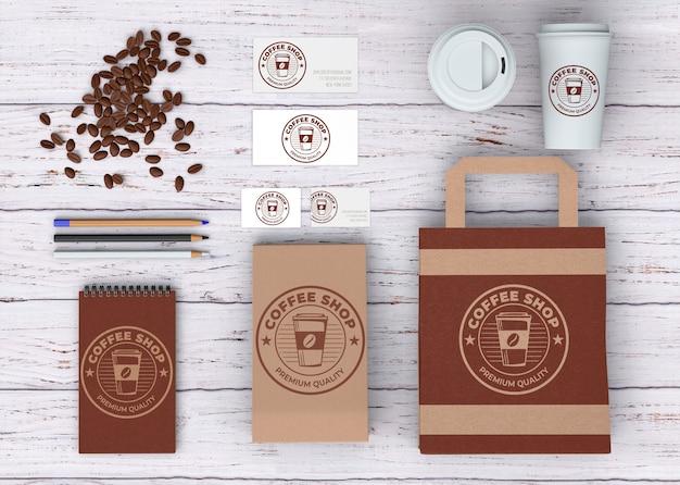 Maquette de papeterie pour café Psd gratuit