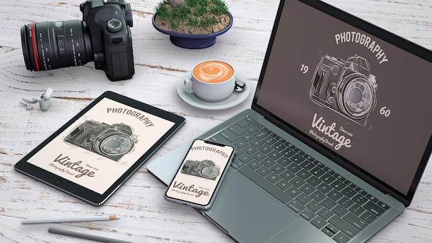 Maquette de papeterie professionnelle avec concept de photographie Psd gratuit