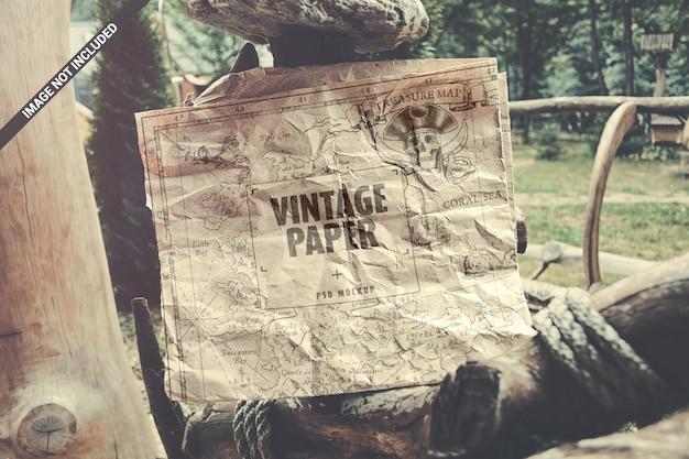 Maquette En Papier Kraft Vintage PSD Premium