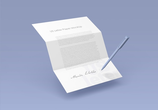 Maquette de papier à lettres us PSD Premium