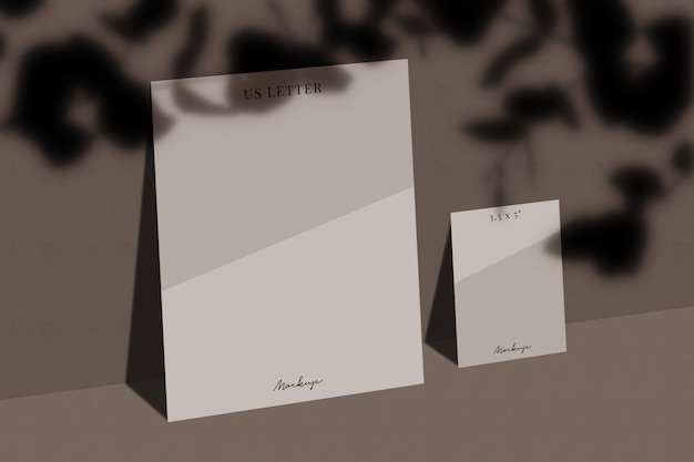 Maquette En Papier Us Letter Avec Superposition D'ombres PSD Premium
