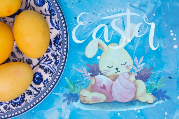 Maquette De Pâques Avec Un Lapin Psd gratuit