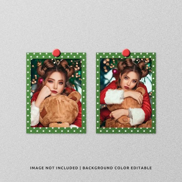 Maquette De Photo De Cadre En Papier Double Portrait Pour Noël PSD Premium