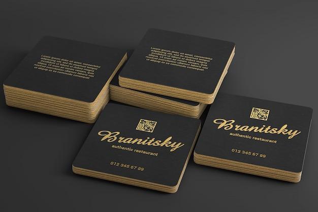 Maquette de pile de carte de visite carrée noire et or de luxe PSD Premium