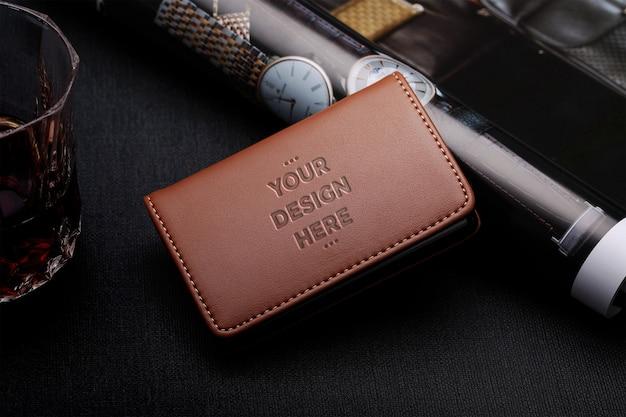 Maquette de portefeuille en cuir marron PSD Premium